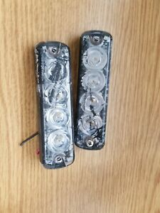 2 Tomar Rect 14ls Led Dual Channel Mini Warning Light Red blue