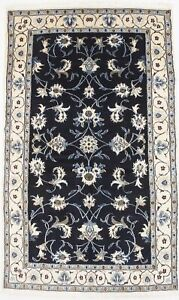 Fanciful Classic Floral Nain Kashmar Blue Persian Rug Oriental Area Carpet 4x7