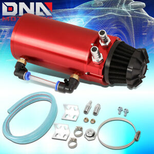 Red Aluminum Engine Oil Reservoir Catch Can Tank Kit W Breather Filter Baffled