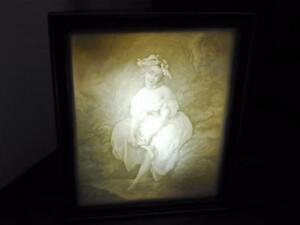 German Lithophane Shadow Box Mantle Lamp Night Light Girl Dipping Feet In Water