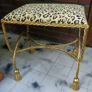 Vtg Hollywood Regency Gilt Twist Metal Rope Tassel Vanity Bench Stool Italian