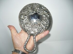 Antique Gorham Sterling Silver Floral High Relief Repousse Hand Mirror Dresser