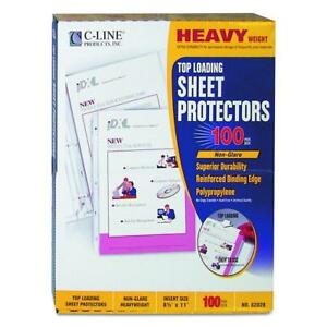 C line Top Loading Heavyweight Poly Sheet Protectors Non glare 8 5 X 11