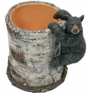 Black Bear Cub Climbing A Birch Pen Pencil Holder Cup 4 25 inch