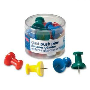 Officemate Giant Push Pins 1 5 Inch Assorted Colors Tub Of 12 92902