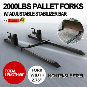 43 Clamp On Pallet Forks W Stabilizer Bar 2000lb Heavy Lifting Hd Adjustable