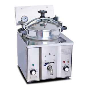 Safe Use 2 4kw 16l Electric Pressure Fryer Cooking Countertop Timer Fish Chicken