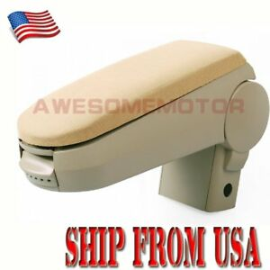 Us Beige Cloth Center Console Armrest For 99 04 Vw Golf Jetta Bora Mk4 Gti Am