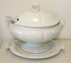 Red Cliff Ironstone Large Oval Soup Tureen With Underplate And Ladle Vintage
