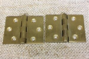 2 Satin Cast Brass Butt Hinges Door Interior Shutter Vintage Old 2 X 1 1 2