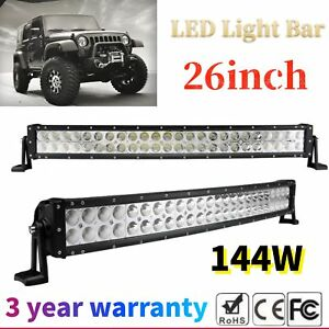 26inch 144w Curved Cree Led Work Light Bar Spot Flood Driving Suv Jeep Truck