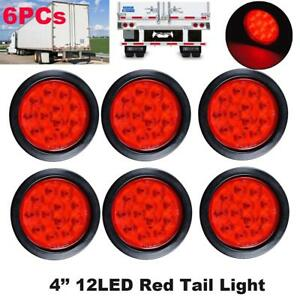 6pcs 4 Inch Red 12 Led Round Stop Turn Tail Lamp Truck Light W Grommet