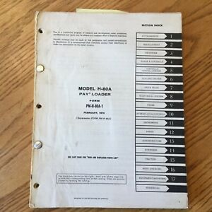 International Hough H 80a Parts Manual Book Catalog Wheel Pay loader Guide List