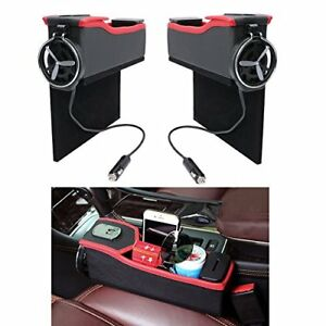 2 Pcs Multi function Pu Leather Vehicle Storage Box With Coin Organizer 2 Usb Ch