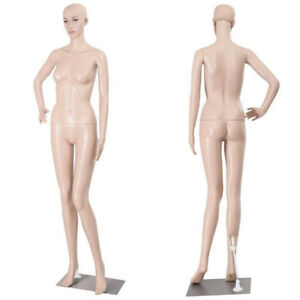Bent Foot Full Body Female Mannequin Plastic Realistic Dress Display W iron Base