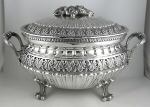 800 Silver Italian Milano Footed Soup Tureen Mid 20th Century