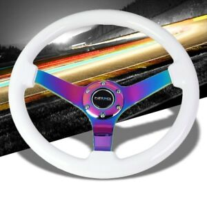 White Wood Neo Chrome 350mm 3 Deep Rst 036wt Mc Classic Nrg Steering Wheel Horn