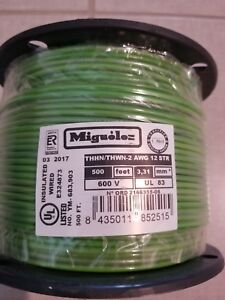 12 Awg Green Stranded Copper Wire 600 Volts 500 Feet Thhn Thwn