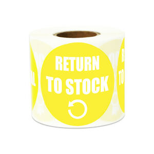 Return To Stock Stickers Inventory Warehouse Count Round Labels 2 x2 10pk