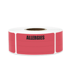 Allergies Sticker Write on Surface Small Rectangle Labels 2 15 x1 Pink 10pk