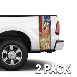 Truck Bed Camo Stripes Wild Buck American Flag Tall Grass Camoulfage 2 4pack