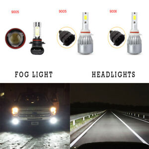 1set White 6000k Cob Led Headlight Fog Lights Kit For Jeep Grand Cherokee 99 10