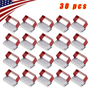 30pcs Dental Burs Holder Block Disinfection Box Aluminium Autoclavable Metal Red