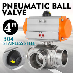 4 Three Way T port Pneumatic Ball Valve Tri clamp Oil Air Actuated Stainless