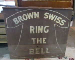 Antique Wooden Swiss Brown Cow Sign Box Vintage Dairy Cattle Ring The Bell