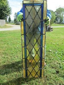 Vtg Stained Glass Church Window 48 X 14 Inches Amber Gold Blue 4 Nr