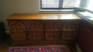 Large Antique Medieval Gothic Tudor Chest Or Dresser W Arched Relief Doors