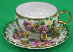 Original Vintage Royal Sealy China Cup And Saucer Roses Footed Open Edges