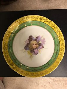 Antique Porcelain Plate Victorian Girl In Flower Altrohla