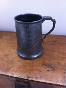 Decorative Antique Pewter Pint Tavern Mug Bunches Of Grapes Etc 5 Inches