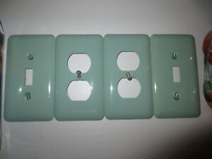 Vintage Mid Century Modern Green Metal Steel 2 Light Switch 2 Outlet Cover Plate