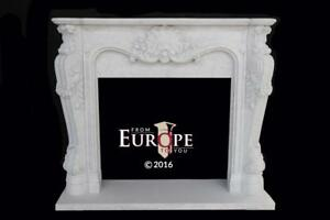French Style Carrara Hand Carved Marble Estate Fireplace Mantel Mbf046