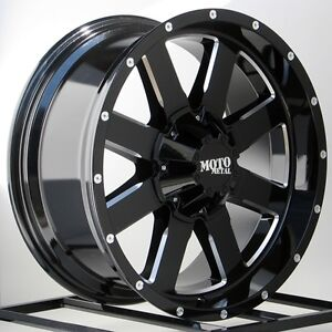 20 Inch Black Wheels Rims Chevy Silverado 2500hd 2011 2019 Moto Metal Mo962 20x9