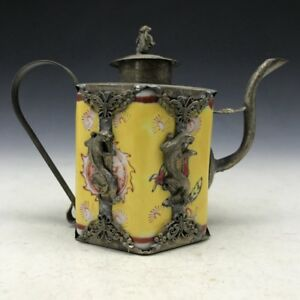 Chinese Antique Ceramic Teapot Outsourcing Tibetan Silver Hand Carved Monkey