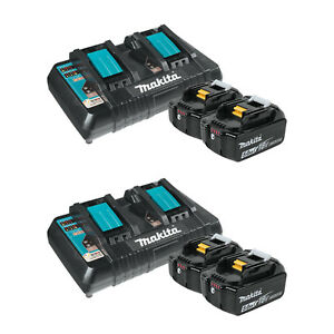 Makita 18 Volt 5 0ah Lithium ion Battery Pair With Dual Port Charger 2 Pack