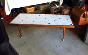 Fab Vintage Mid Century Danish Modern Mosaic Tile Coffee Table W Tapered Legs