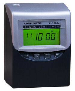 Compumatic Xl1000e Calculating Time Clock Bundle W 100 Time Cards Rack Ribbon