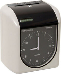 New Compumatic Tr440a Heavy Duty Time Clock 250 Cards 10 Card Rack Ribbon