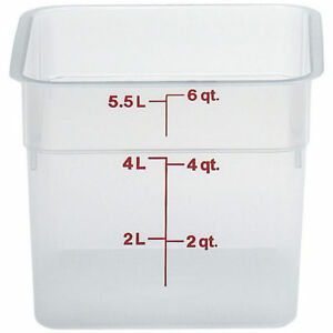 Cambro 6 Qt Translucent Camsquare Food Storage Containers 6pk Translucent