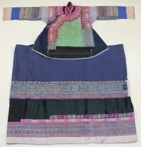 Chinese Minority S Old Local Cloth Hand Embroidery Batik Costume Jacket Skirt