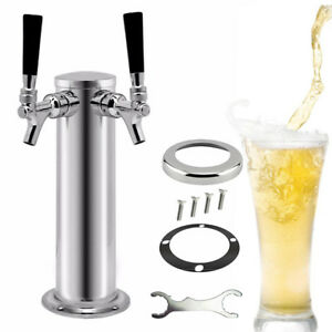 Double Draft Beer Tower Kegerator Dual Chrome 2 Tap Faucets Stainless Steel Top