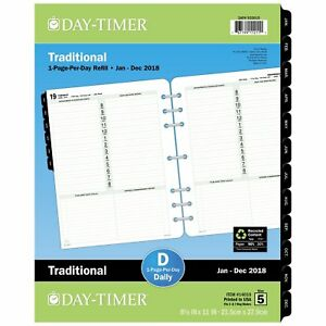 Day timer 14010 Dated One page per day Organizer Refill January december 8 1 2