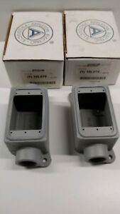 Lot Of 2 New Old Stock Appleton Single Gang Aluminum Electrical Box Appfdc1100