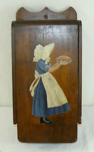 Vintage Large Wood Painted Wall Mounted Recipe Card File Holder Box Organizer