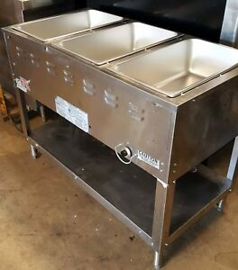 Used 3 Well Pan Gas Steam Table Duke Aerohot Wb303 Wet Water Bath Food Warmer