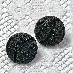 2 Victorian Black Glass Buttons Great Faceted Pattern